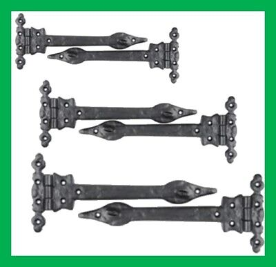 "Cast Iron Black Antique Spear Ornate Pear Tee Hinges Pair 6"" 9"" 12"" Sizes"