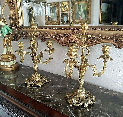 Antique French Gold Gilt Heavy Ornate 4 Arm Candelabras Candlestick Holders