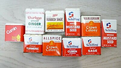 Lot of 10 Vintage Spice Tins Schilling Tones Durkee Crown Colony French's