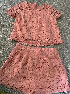 Girls Next Pink Lace Top & Shorts Size 8 Years