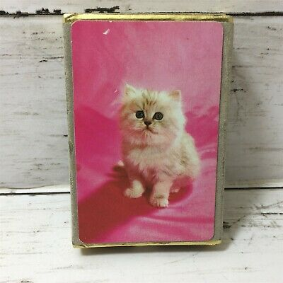 Vintage Congress Playing Cards Cat Kitten Pink Cell-u-tone Finish Sealed Cards