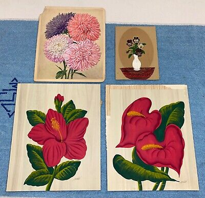 """Antique 19TH Century Lot Of 4 Flower Still Life Oil Paintings 12"""" Quality"""