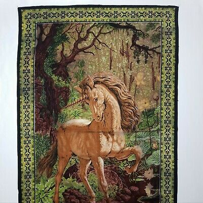 "Vintage UNICORN Tapestry ATC New York Made in Turkey Wall Hanging 34"" x 52"""
