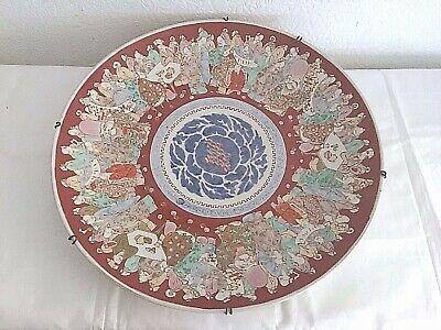 """ANTIQUE large CHINESE 18"""" POTTERY CHARGER plate immortals gods wise men decor"""