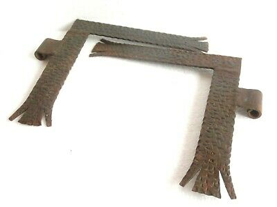 "1800's Pair of Antique Wrought Iron Large Gate Hinges 10"" x 10""- Blacksmith Made"