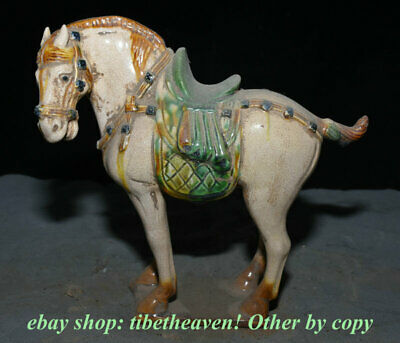 "8.8"" Old Chinese Tang Sancai Painting Pottery Palace Tang Horse Steed Sculpture"