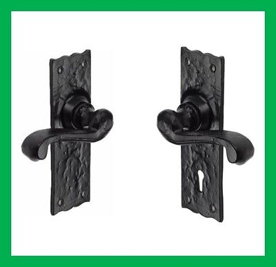 Cast Iron Black Antique Fancy Ornate Scroll Lever Door Furniture Handles Sets