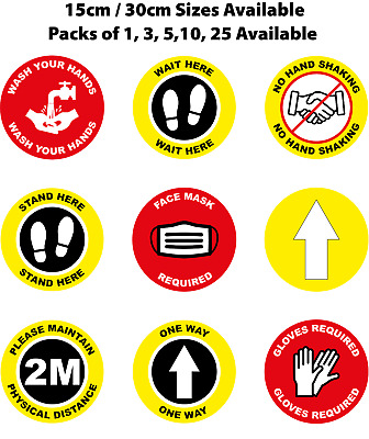 Social Distancing Floor Stickers - 15cm/30cm - Pack 1/3/5/10/25 - Self Adhesive