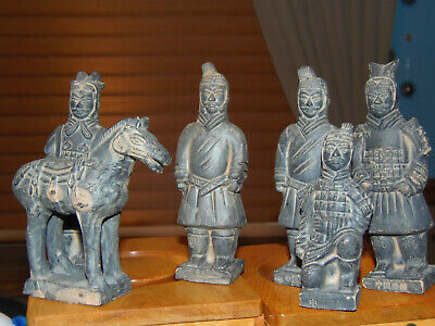 Set of Chinese Figurines, four Men and a Horse Vintage