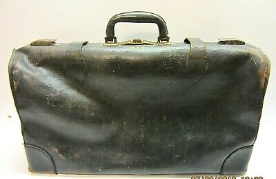 Vtg Large Big Old Antique Leather Medical Vet Dr Bag Case