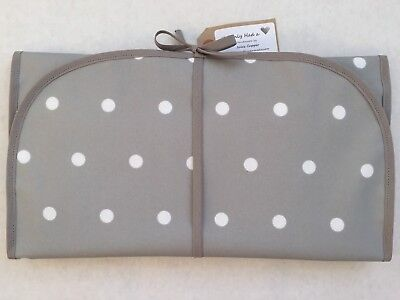 Grey Spot With Oilcloth Wipe Clean Baby Travel Changing Mat Quality Handmade