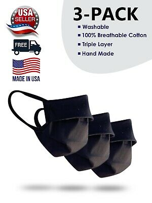 3 Pack OF Made In USA Multi Layers Cloth Mask Face Cotton Anti Haze Reusable