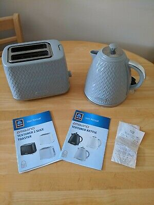 Ambiano Grey Blue Textured Toaster and Kettle With Valid Warranty