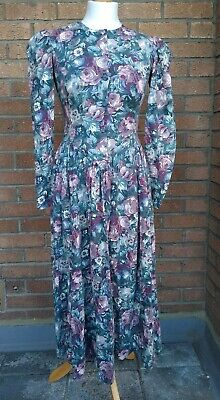 VINTAGE LAURA ASHLEY DRESS. 80's/90's Floral Victorian Style. UK Size 8.