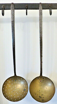 RARE Antique 19th C HAND-FORGED IRON Brass PUNCH DECORATED Skimmer Ladle SET #9