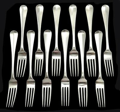 12 Antique 1849-1851 Dutch Sterling .934 Silver Dinner Forks No Mono