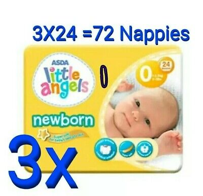 ASDA LITTLE ANGELS NEWBORN PACK OF 24 NAPPIES 2-5lbs NEW SIZE 0 PREMATURE