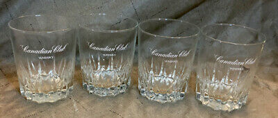 Canadian Club Whisky Glasses RARE Set Of Four (4) VINTAGE