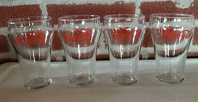 "(4) ~ Vintage Coca- Cola Soda Fountain 5"" Bell Shape Red Letter Beverage Glasses"