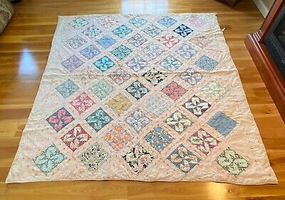 "Antique Patchwork Handmade Quilt – Multi Color - New England AAFA 78 1/2"" x 73"""