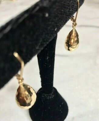 14 Kt Yellow Gold Faceted Tear Drops Earrings
