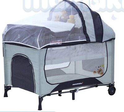 New Foldable Portable Infant Baby Cot Playpen Travel cot Portacot Bassinet GREY