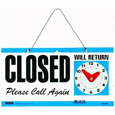Headline Sign 9395 Double-Sided Open/Closed/Will Return Sign with Clock H... New