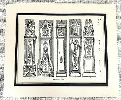 1903 Antique Print French Grandfather Clocks Horology Louis XIV Daniel Marot