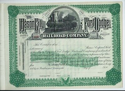 USA stock share certificate 1880's Mason City & Fort Dodge Railroad