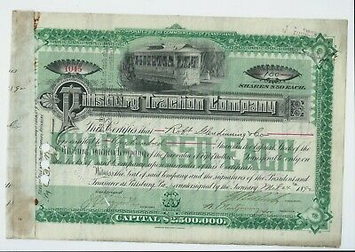 USA stock share certificate 1892 Pittsburg Traction Company