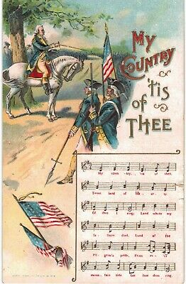 My Country Tis of Thee Song On Postcard Patriotic Embossed 1910
