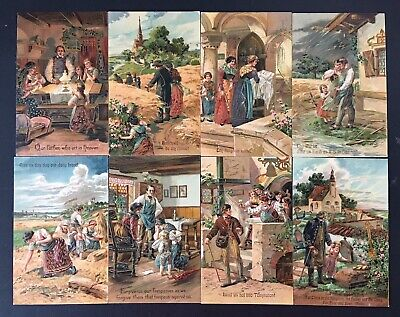 Lord's Prayer PFB Embossed Gilded COMPLETE 8 Card Set 7064 Unused 1910 Religion