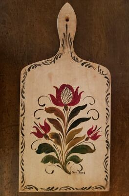 Vintage ANTIQUE Hanging WOODEN BREAD Cutting BOARD TOLEWARE Painted PA GERMAN