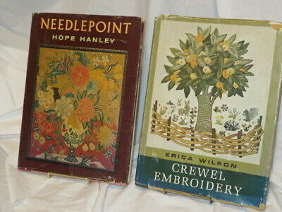 2 Vtg Needlework Books Needlepoint Hanley Crewel Embroidery Wilson HC DJ