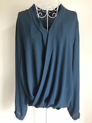 Atmosphere Womens Blouse Top Size 16 Teal Green Long Sleeved Collared