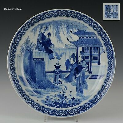 Nice large deep Chinese B&W porcelain dish, figures, 19th century.