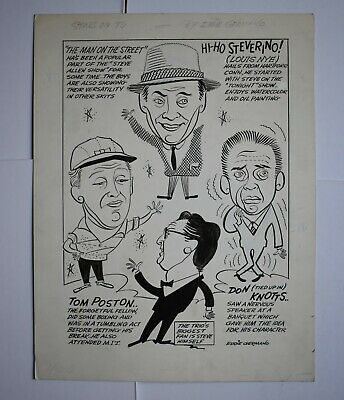 1956 Don Knotts Man in the Street FIRST TV SHOW Original Cartoon Art by Germano