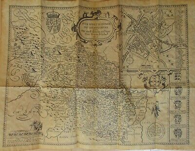 Old Map of Yorkshire West Riding 1610 Replica on Antiqued Parchment