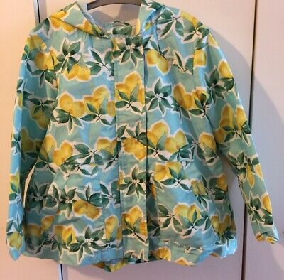 Next Age 4-5 Girls Spring Jacket Mac Lemon Range Teal Raincoat