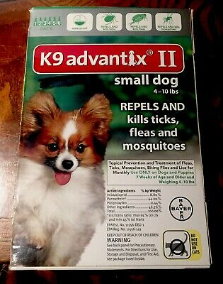 K9 Advantix II Flea and Tick Treatment for Small Dogs, 4-10 lbs,6 Doses