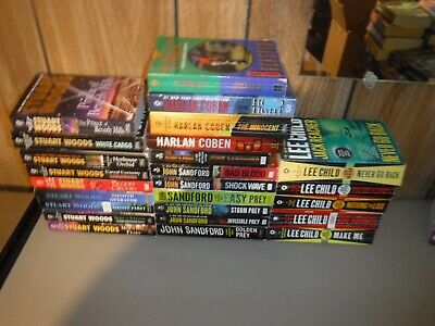 Huge Lot Of 25 Mystery Novels By Popular Male Authors Paperbacks (English)