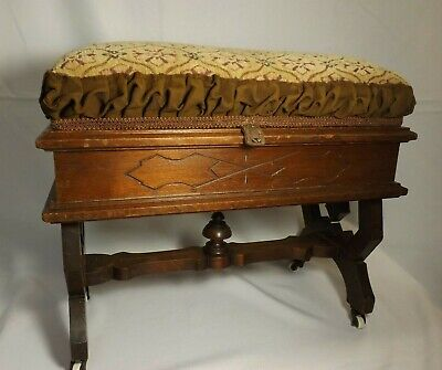 Vintage 1890's Victorian Carved Wood Upholstered Top - Bench Stool Ottoman OPENS