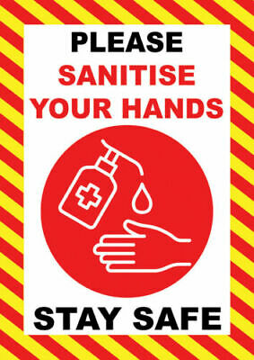 Adhesive Sticker Sign Cleaning Clean Please Sanitise Wash Hands Notice Guidance*