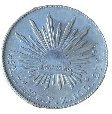 Mexico ~ Silver 1896 Zs FZ 8-Reales in Excellent Condition M800