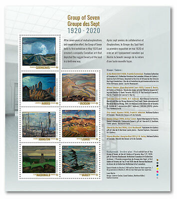 2020 Canada Group Of Seven Pane Of 7 Stamps Art Landscape Canadian 20th Century