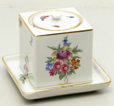 Herend Hungary Fine Porcelain Inkwell with Tray and Insert Floral Peony Bouquet