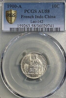1900-A French Indo-China 10 Centimes Cents PCGS AU58