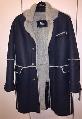 Dolce Gabbana Girls Coat Age 9-10 Blue Lamb Leather Original