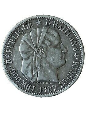 HAITI 1887 1 Gourde Silver Crown In Nice Condition M806