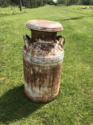 Nice Solid 10 Gallon White Milk Can w Old Country Look  Country /Cowboy / Decora